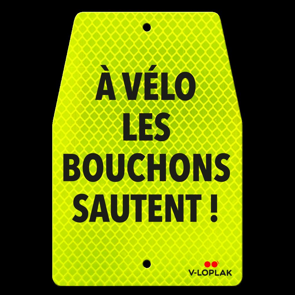 Plaque vélo rétro-réfléchissant jaune