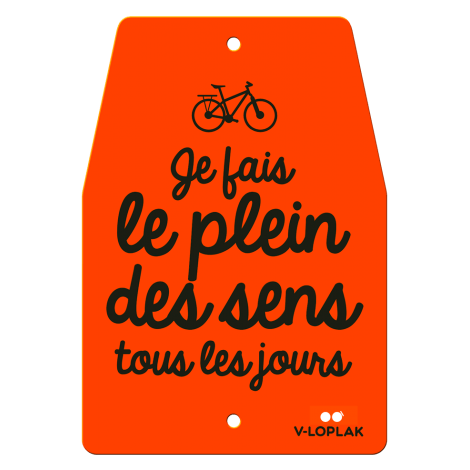 Plaque vélo fluo orange