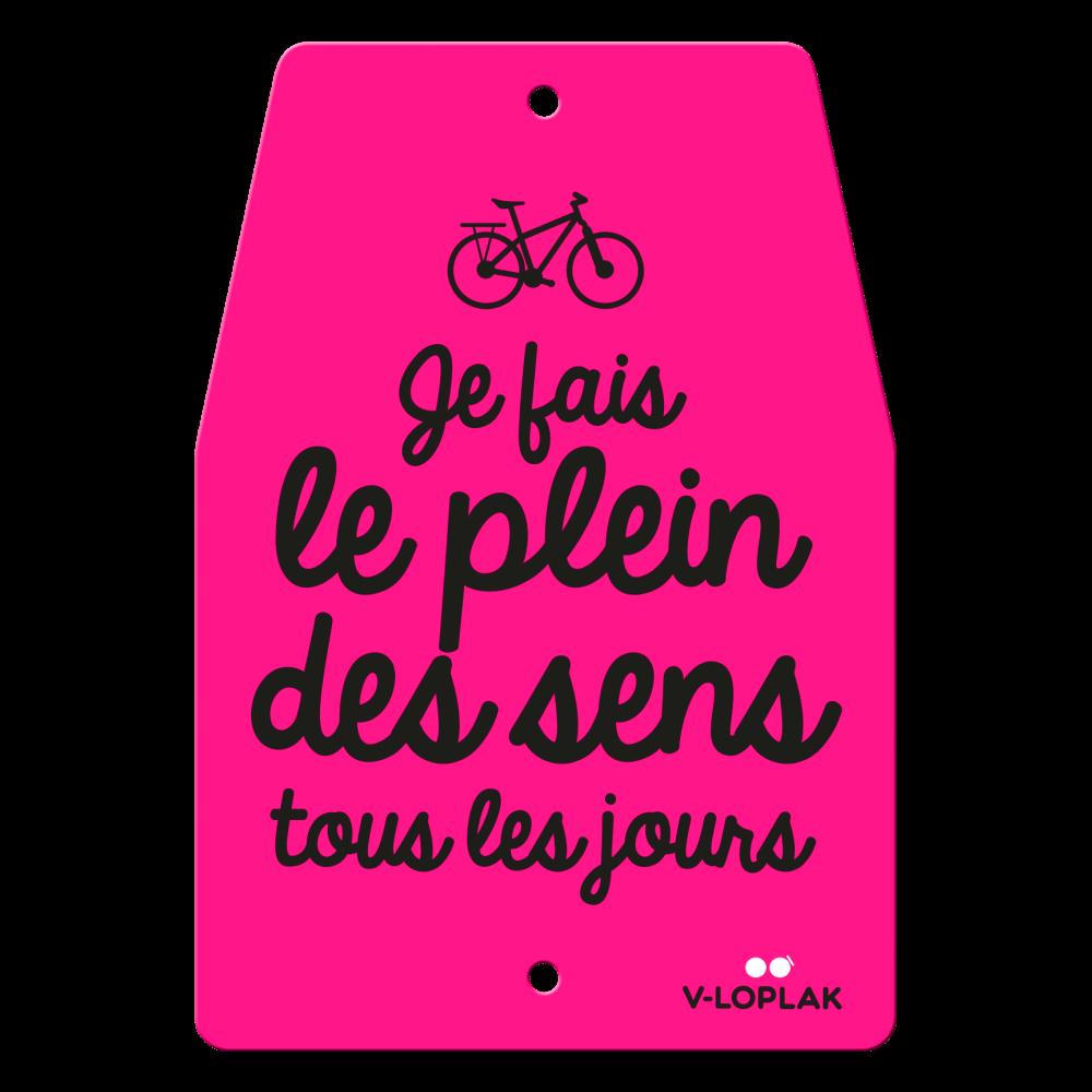 Plaque vélo fluo rose