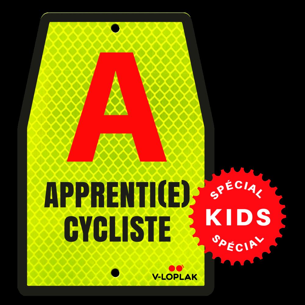 Plaque vélo rétro réfléchissant jaune A Apprenti cycliste