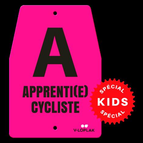 Plaque vélo fluo rose pour enfants