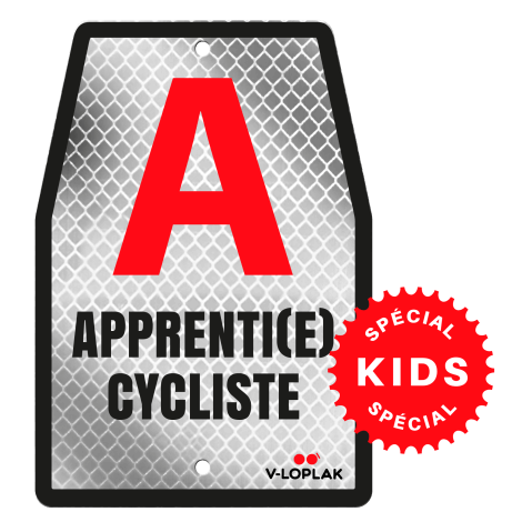 Plaque vélo rétro-réfléchissant blanc pour enfants