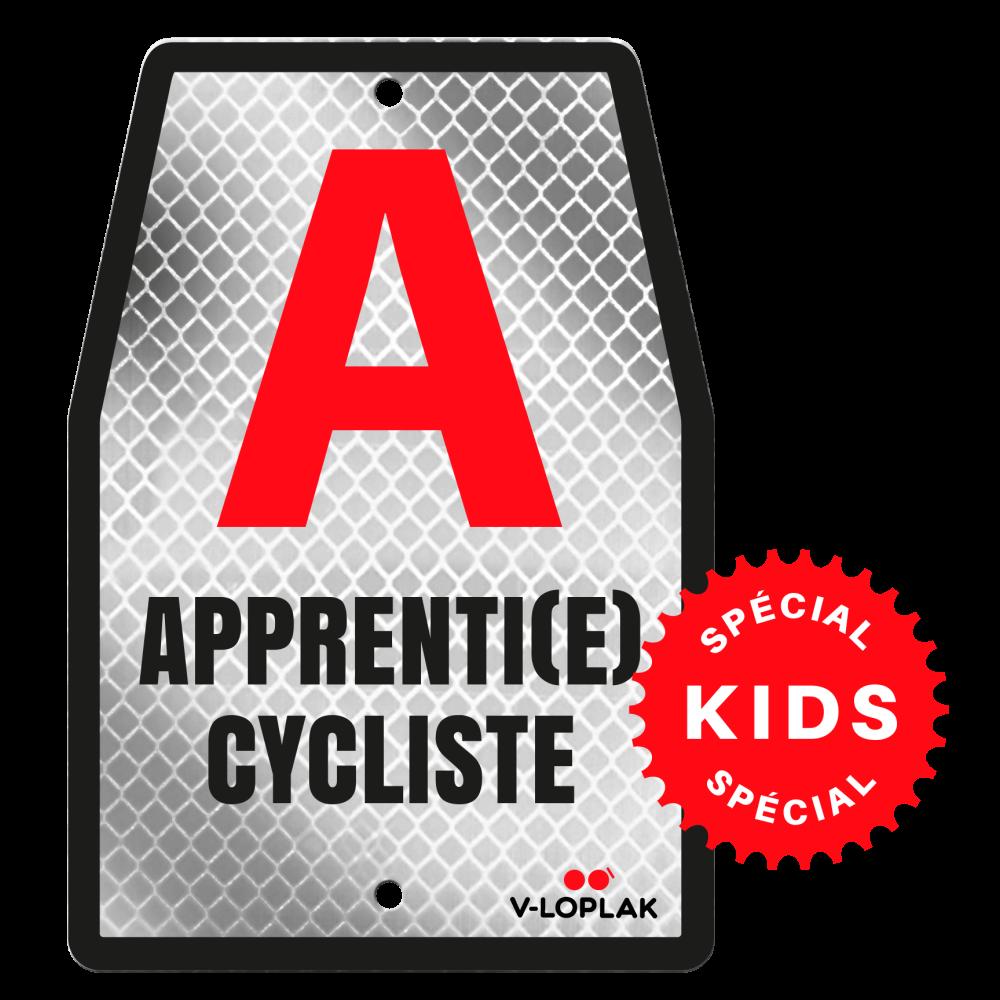 Plaque vélo rétro réfléchissant blanc pour enfants A Apprenti cycliste