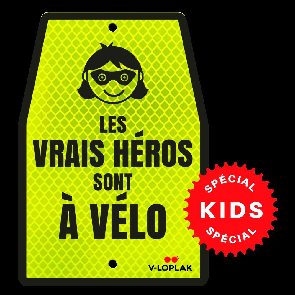 Plaque vélo rétro-réfléchissant jaune pour enfants
